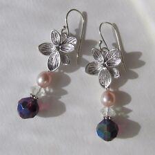 betörende Azalee Blüte Zucht Perlen Quarz Kristall Ohrringe Blume 925 Silber NEU