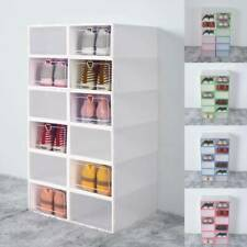 12x White Clear Shoe Storage Boxes Drawer Stackable Foldable Durable Organiser