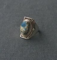 SOLID 925 STERLING SILVER INDIA MADE AZURITE OVAL GEMSTONE RING N