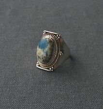 SUPERB GENUINE 925 STERLING SILVER INDIA MADE AZURITE OVAL GEMSTONE RING N