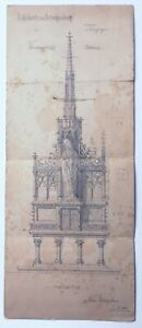 1880 Pencil Architectural Drawing St Valens Stiftskirche Aschaffenburg Germany