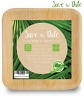 6'' Square Palm Leaf Plates 25 Pack Bamboo Disposable Heavy Duty Biodegradable
