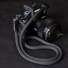 Handmade Rope Camera neck strap Black leather Black 9mm