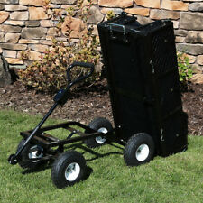 Sunnydaze Dumping Utility Cart with Folding Sides and Liner Set - Black
