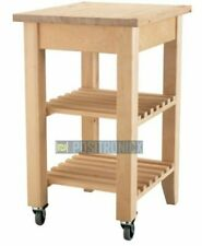 IKEA Solid wood Birch Effect Kitchen Trolley On Wheels With Shelf