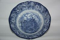 Staffordshire Ironstone Liberty Blue Historic Colonial Scenes Serving Bowl