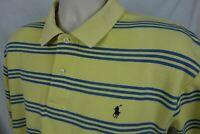 Polo Ralph Lauren Mens L Golf Shirt Short Sleeve Yellow Blue Stripes Pony Logo
