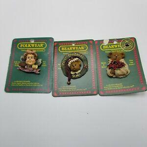 Boyds Bears Bearwear Folkwear Lot of 3 Pins Christmas New Fairy Soap L2