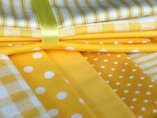 YELLOW 100% COTTON FABRIC stripe spot gingahm for craft dress patchwork bunting