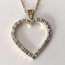 NEW! 24 Diamonds .18 CTW Heart Pendant 18 Inch Necklace 18K Yellow Gold