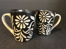 """Daisy - White by American Atelier at Home - 2 Stoneware Coffee Mugs 4 1/4"""" Tall"""