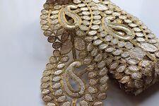 Espejo de Oro Antiguo Impresionante Adornado indio frontera Sari Dupatta de encaje de corte