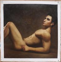 "30""x30"" Fine art male nude sitting men original oil painting on canvas handmade"