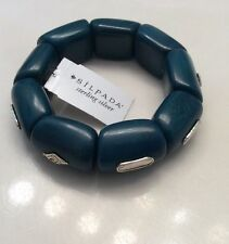 Silpada Ladies Blue Stone And Sterling Silver Stretch Braclet