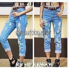 PUNNY RIPPED TATTERED JEANS (ACID BLUE) SIZE 25