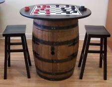 "Whiskey Barrel Checker Board Cabinet-c/ (2) 24"" Wood Bar Stools-FREE SHIPPING"