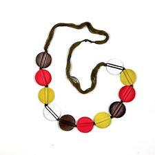 Round Wood Yellow/Orange/Silver Necklace