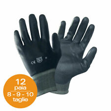 12 Pairs Working Gloves Nylon Polyurethane Black Gardening Workshop Mechanics