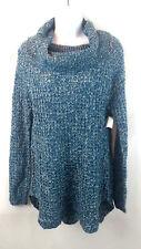 Rue 21 Women's Crochet Knit Cowl Neck Sweater Tunic Top Blue Size Small New
