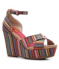NEW Womens Rocket Dog Clara Multi Striped Ankle Strap Wedge Sandals Size 10M