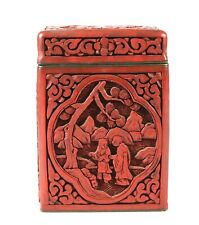 Qing Dynast Deep Carved Chinese cinnabar lacquer tobacco box 1147