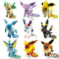 """9pcs/Lot  Pokemon plush toys Stand Eevee Sylveon Eeveelution Vaporeon dolls 8"""""""