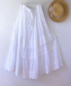 New~$68~White Eyelet Lace Peasant Boho Tiered Cotton Dress Skirt~Size Small S