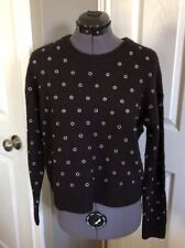 NWT Michael Kors Basics Black Grommet Sweater QF76NDZ773 - Small
