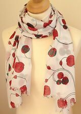 NEW 100% COTTON WOMEN'S MACKINTOSH STYLE RED ROSES PRINT SCARF BY JUNIPER