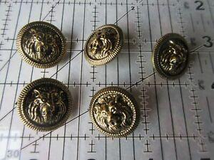 5 Vintage metal LION face design Gold metal repousse Buttons