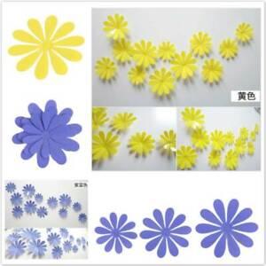 12Pcs 3D Petal Flower Wall Stickers Art Decal Living Room TV Background Decor YG