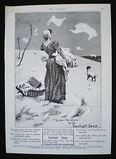 SUNLIGHT SOAP WASHING POWDER LAUNDRY WOMAN & DOG ORIGINAL MAGAZINE ADVERT 1901