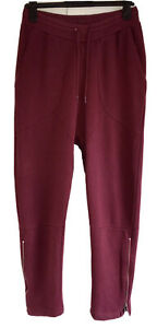Pure Cotton Low Rise Tapered Streetwear Joggers Sweatpants Lrg Burgundy Wine VGC