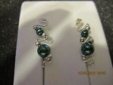 Pr Green Glass Pearl Ear Vines Climbers Ear Pins Sterling Silver Filled Wire
