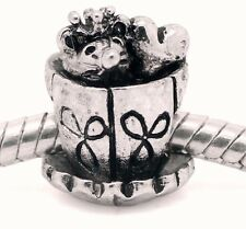 Teacup Mouse with Crown Heart Tea Cup Animal Charm for European Bead Bracelets
