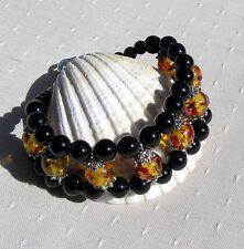 "Black Onyx & Faux Amber Crystal Gemstone Cuff Bracelet ""Sunrise"""