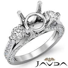 Round Diamond Engagement Unique Three Stone Ring 14k White Gold Semi Mount 1.3Ct