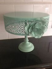 Beautiful Blue/Green Metal Cake Stand with Lace-like Open Work and Floral Bloom
