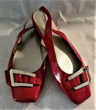 ME TOO RED REAL PATENT LEATHER SLINGBACK FLATS SIZE 6.5 MEDIUM