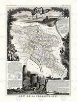 MAP ANTIQUE ILLUSTRATED FRANCE LEVASSEUR CHARENTE INFERIOR ART PRINT HP1442