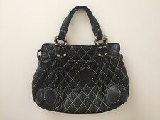 DEMI MOORE CELEBRITY OWNED HANDBAG JUICY COUTURE QUILTED BLACK LEATHER SATCHEL