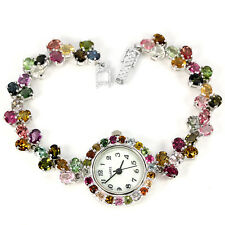 Sterling Silver 925 Genuine Natural Fancy Coloured Tourmaline Watch 7 Inch