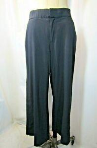 ATHLETA Tribeca Black Crop Hidden Snaps at Hem Wide Leg Pants Size 8