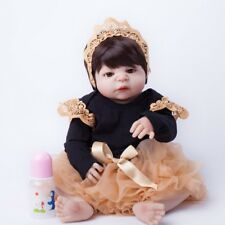 "22"" Full Silicone Reborn Baby Girl Lifelike Vinyl Newborn Doll Halloween Clothes"
