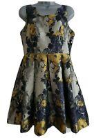 "LOUCHE ""Cosmia"" Women's Multi-Coloured Floral Jacquard Skater Dress. Size UK 12."