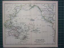 1887 ANTIQUE MAP ~ OCEANIA & PACIFIC OCEAN POLYNESIA HAWAII UNITED STATES