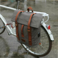 Tourbon Canvas Bike Laptop Travel Backpack Single Rear Pannier Bag Waterproof US