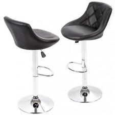 New Pu Leather Bar Stools Modern Swivel Dinning Kitchen Chair, Set Of 2 Black