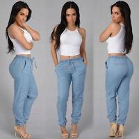 Fashion Women Stretch Waist Jogger Leggings Loose Casual Harem Pants Trousers U9