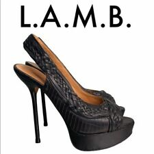 L.A.M.B. BLACK LEATHER PLATFORM HEELS SIZE 9 M